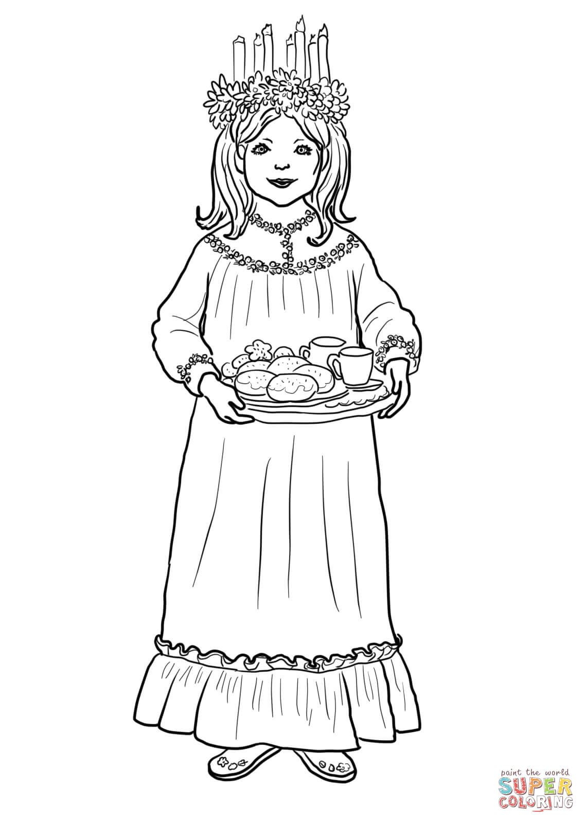 Saint Lucy Day Coloring Page From Norway Category Select From 28148 Printable Crafts Of Cartoons Nature Animals Bi St Lucia Day Sankta Lucia Coloring Pages