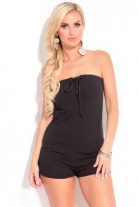 54bb9e8011a BLACK STRAPLESS TUBE TOP ONE PIECE ROMPER SHORTS Strapless Romper