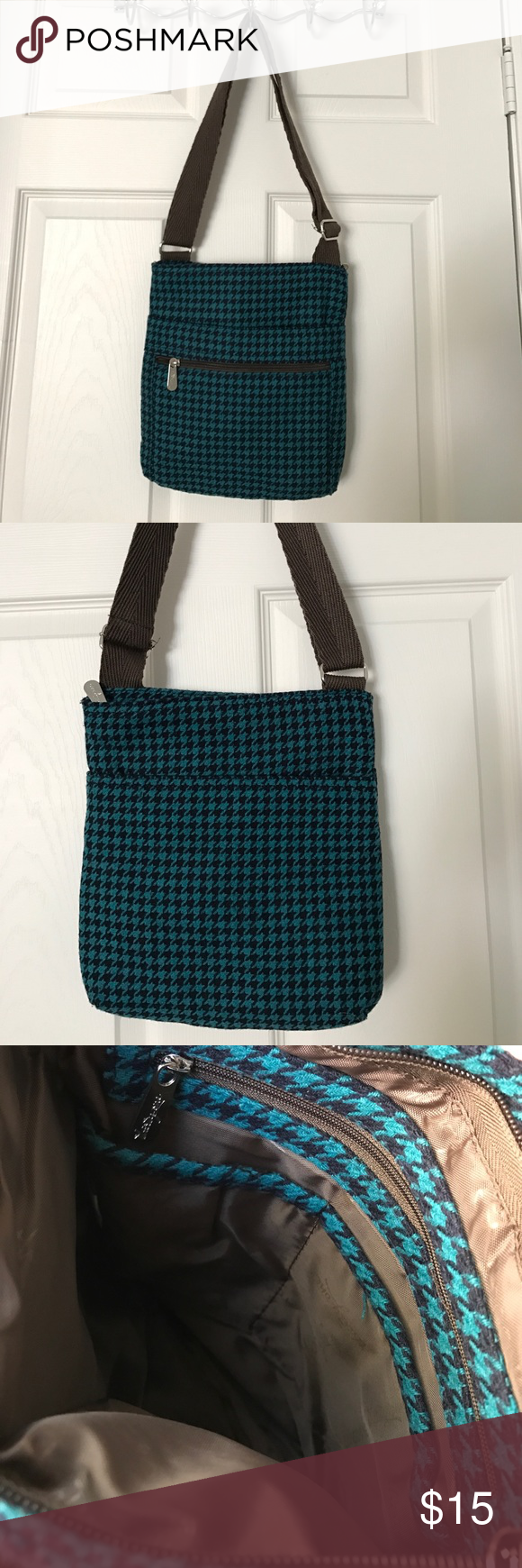 Thirty one crossbody bag Thirty One crossbody bag. Teal & navy houndstooth print all over, brown zipper and strap. Inside is brown and clean. One zippered pocket on outside, one slip pocket and main pocket is also zippered. Inside main pocket is one zippered pocket & two slip pockets. Used once. thirty one Bags Crossbody Bags