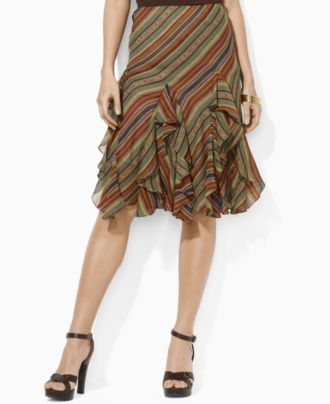 5d2acccc89 Lauren by Ralph Lauren Skirt, Ingrid Ruffled Striped - Womens Skirts -  Macy's