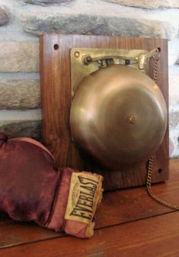 Large Vintage-Style Brass Boxing Bell on Plaque...customers can ring it when they are happy with their service
