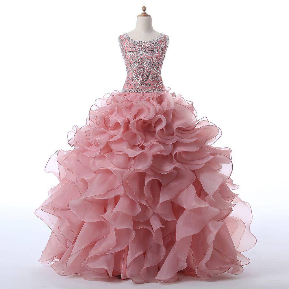 Charming prom dress blush quinceanera dress organza ruffled