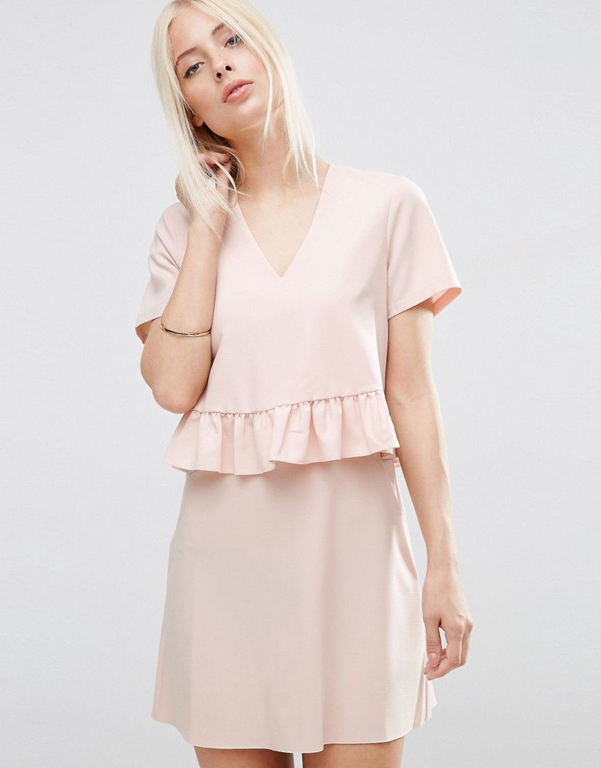 Image of asos short sleeve double layer ruffle dress clothes