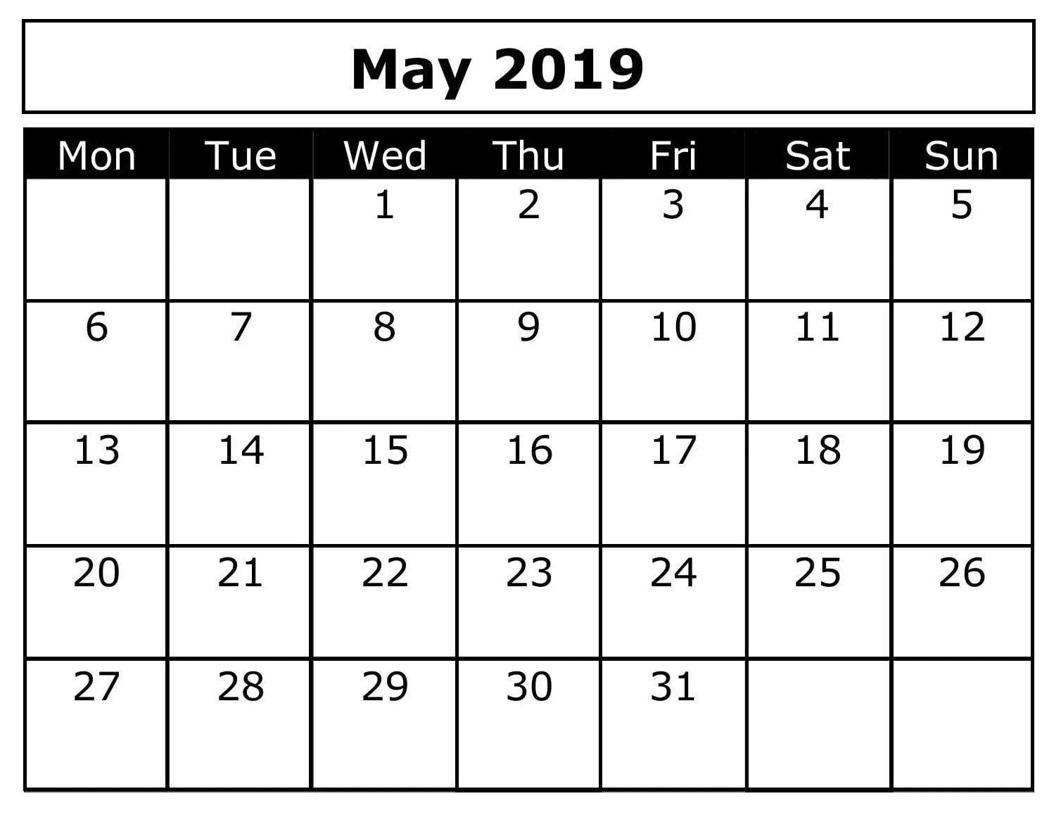 Blank May Calendar 2019 Word 2019 Calendar Free Calendar
