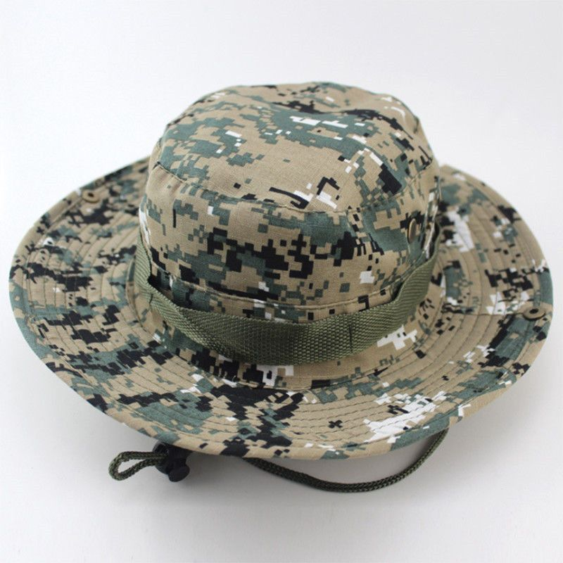 a9719efba539a Camouflage Bucket Hats Wide Brim Sun Cap Ripstop Camo Fishing Hunting  Hiking Men Safari Summer Jungle with String Boonie Hat