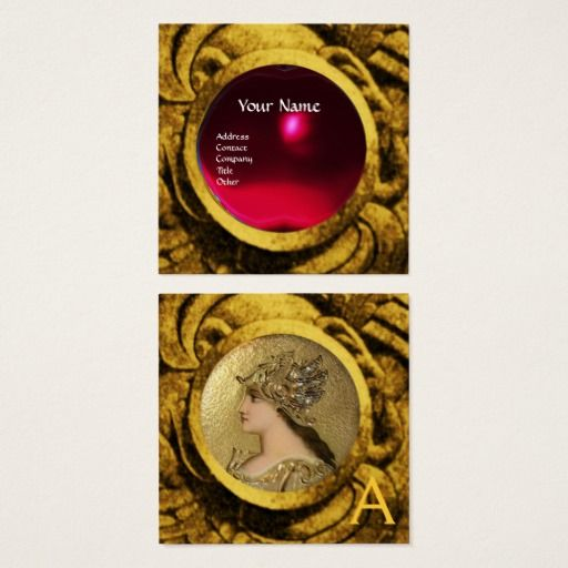 ATHENA AND FIGHTING GRYPHONS MONOGRAM ,Red Ruby Square Business Card #jewel #jewelry #beauty #antique #atena #gem