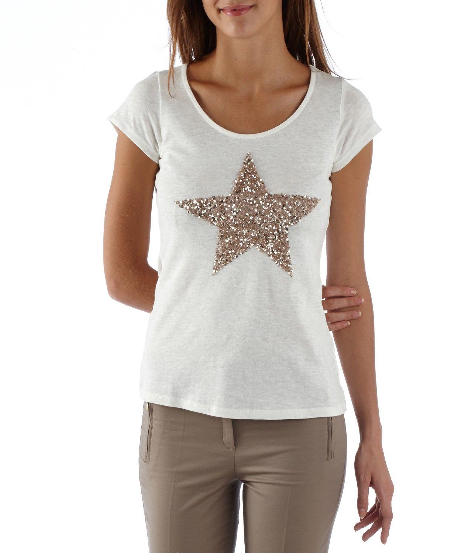 3668f897e17 T-shirt femme à sequins Etoile - Camaieu
