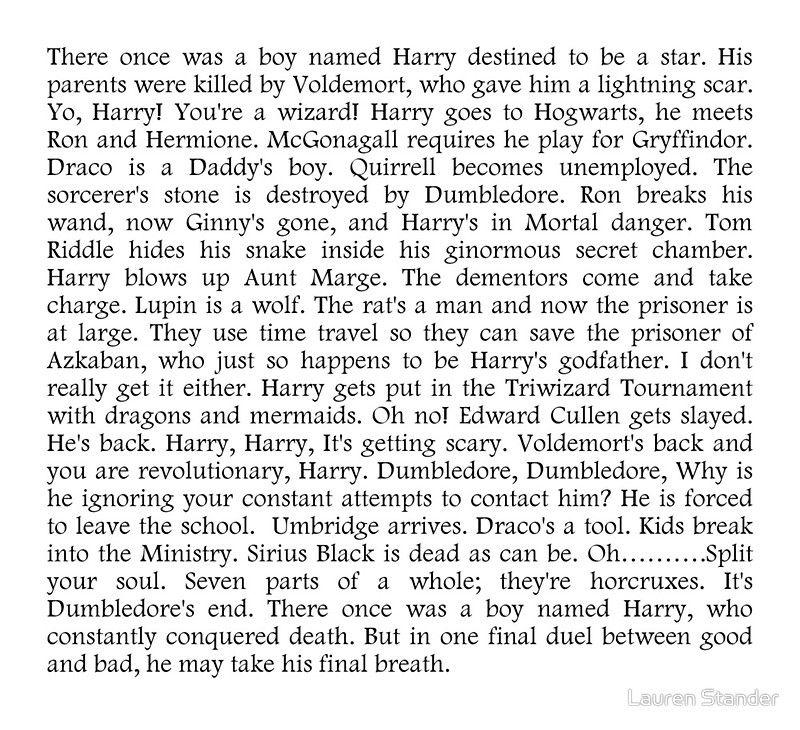 Harry Potter In 99 Seconds By Lauren Stander Harry Stander Harry Potter 99 Seconds