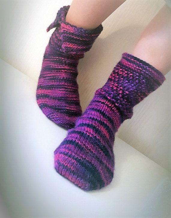 Reversible Socks Knitting Pattern Handmade Diy Rock Chick Worsted
