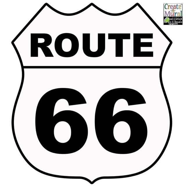 Create-A-Mural - Route 66 Sign Wall Decal, $9.99 (http://www.create-a-mural.com/products/route-66-sign-wall-decal.html)
