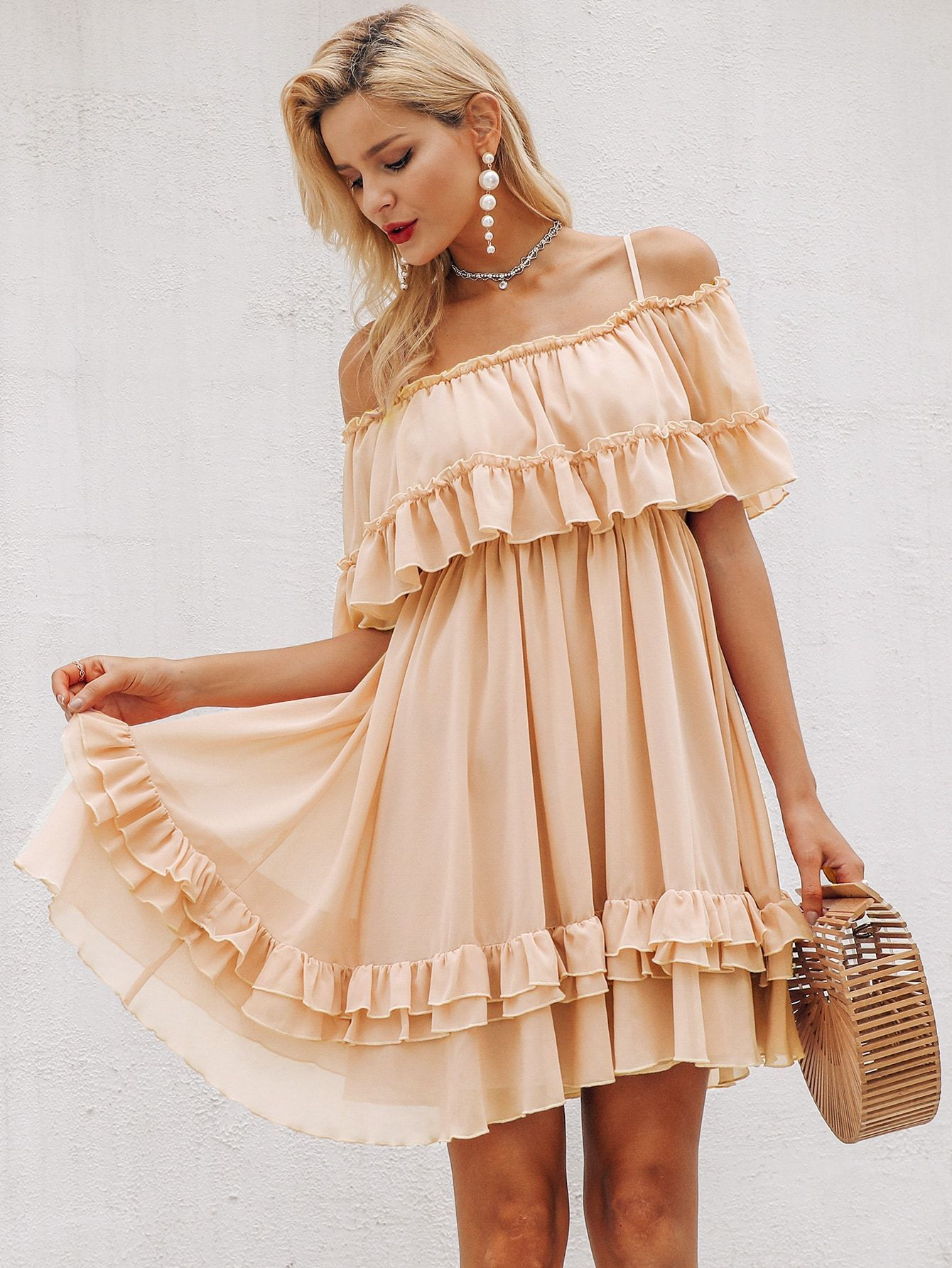 Simplee Cold Shoulder Layered Ruffle Dress Layered Ruffle Dress Chiffon Summer Dress Mini Dress [ 1785 x 1340 Pixel ]