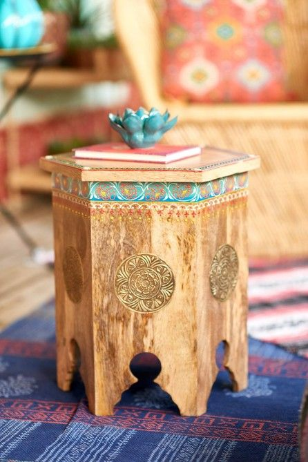 Painted Natural Wood Table with Metal Details