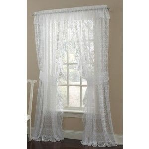 Priscilla Lace Curtain 130 W X 84 L Priscilla Ruffled Pair W Ties Price 29 99 Lace Curtain Panels Ruffle