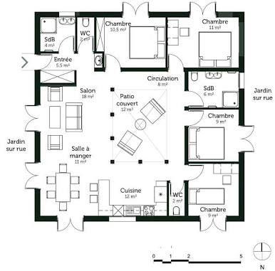 Resultado de imagen para plan de maison carre avec patio interieur | Patios