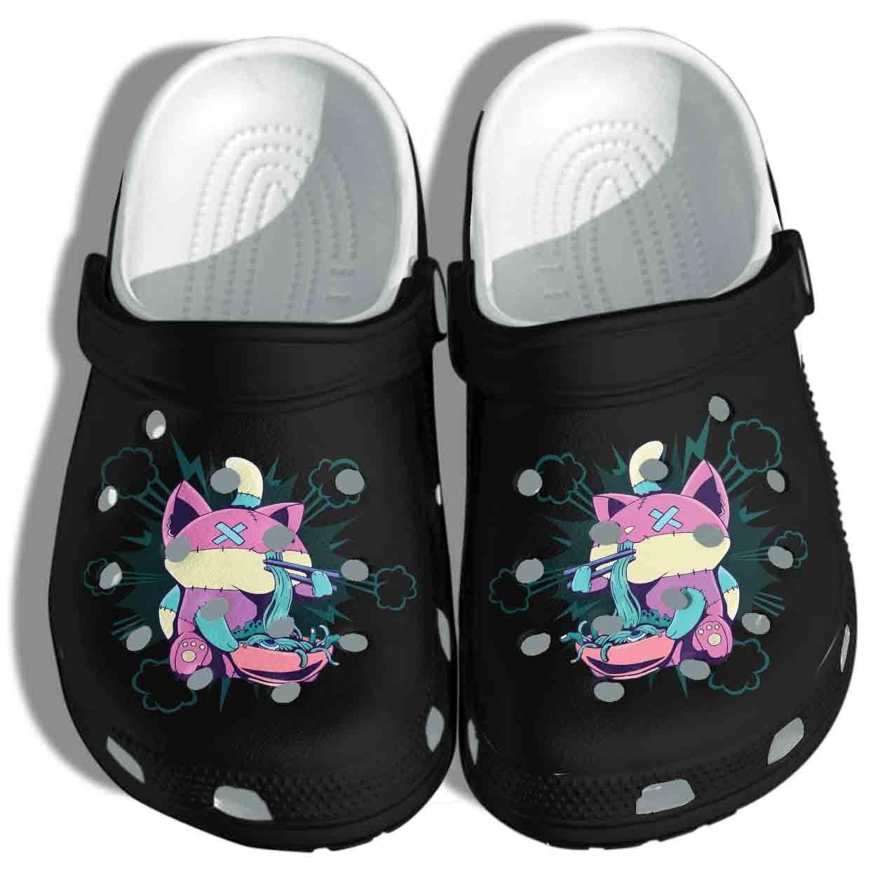 Photo of Pastel Goth Ramen Cat Crocs Shoes – Anime Kawaii Crocs Clog Birthday Gift For Girl Daughter Niece