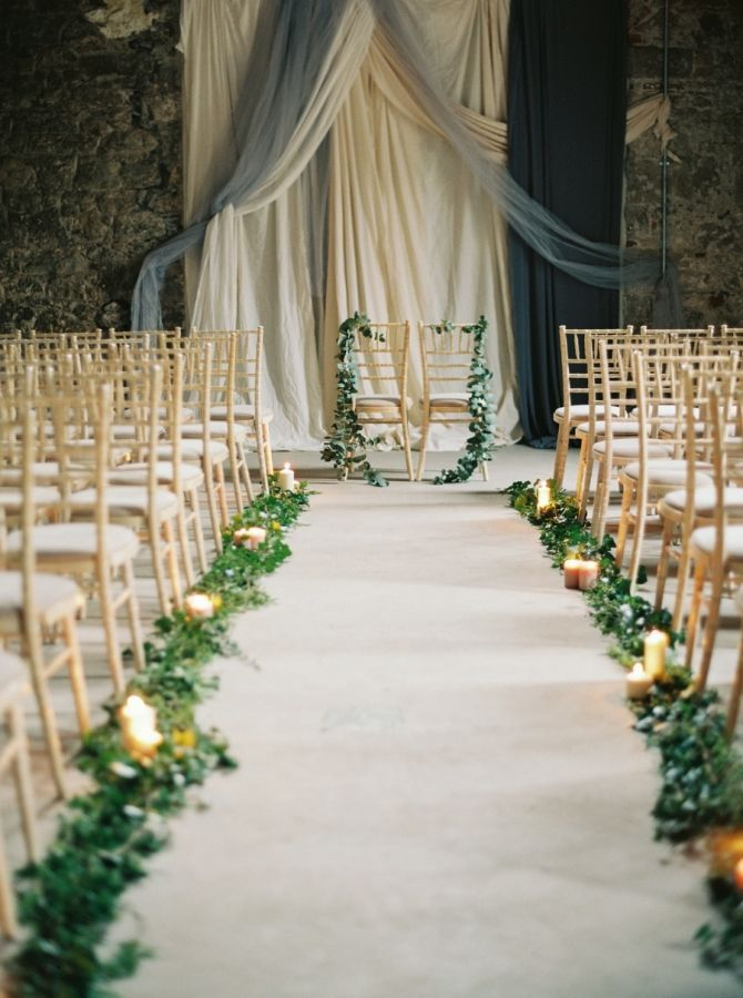 church wedding decorations candles%0A    Gorgeous Greenery Garland Wedding Ideas For