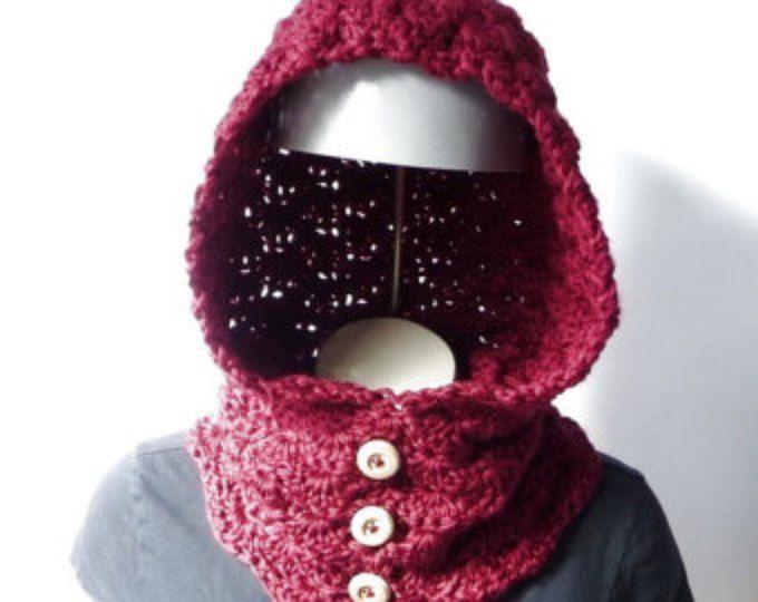 CROCHET PATTERN Hooded Cowl Button Neck Warmer Crochet Hoodie ...