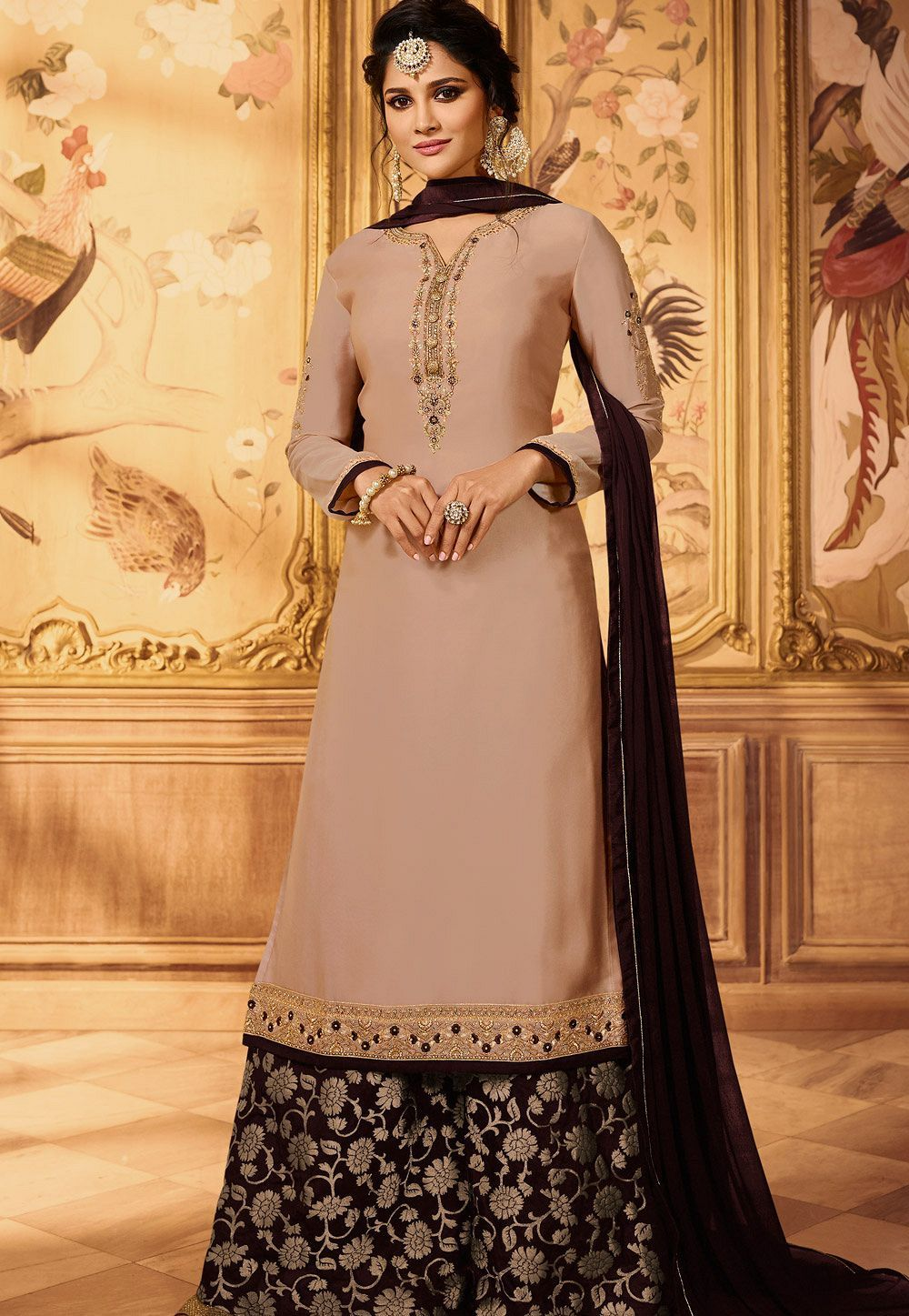 3009cc7fbf Beige embroidered satin georgette sharara style pakistani suit 15605 ...