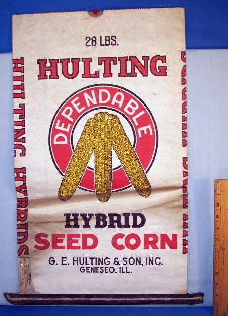 Seed Corn Bag 1930s Hulting Hybrid 28 Lbs Genesco Il Corn