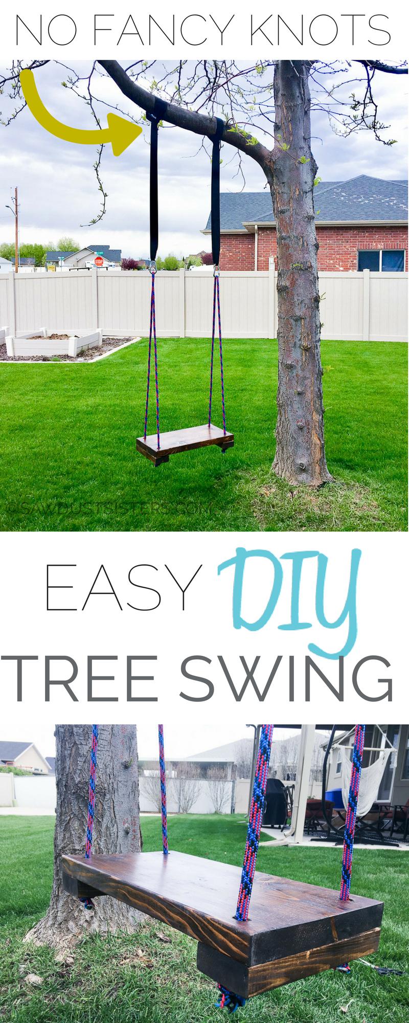 Super Easy Diy Tree Swing Tree Swing Tree House Diy Tree Swings Diy