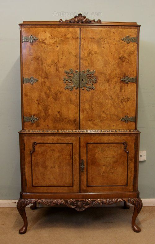 Antique Walnut Cocktail Cabinet, This Queen Anne style burr walnut cocktail  / drinks cabinet has lovely figured walnut door fronts the top section  having ... - Antique Walnut Cocktail Cabinet, This Queen Anne Style Burr Walnut