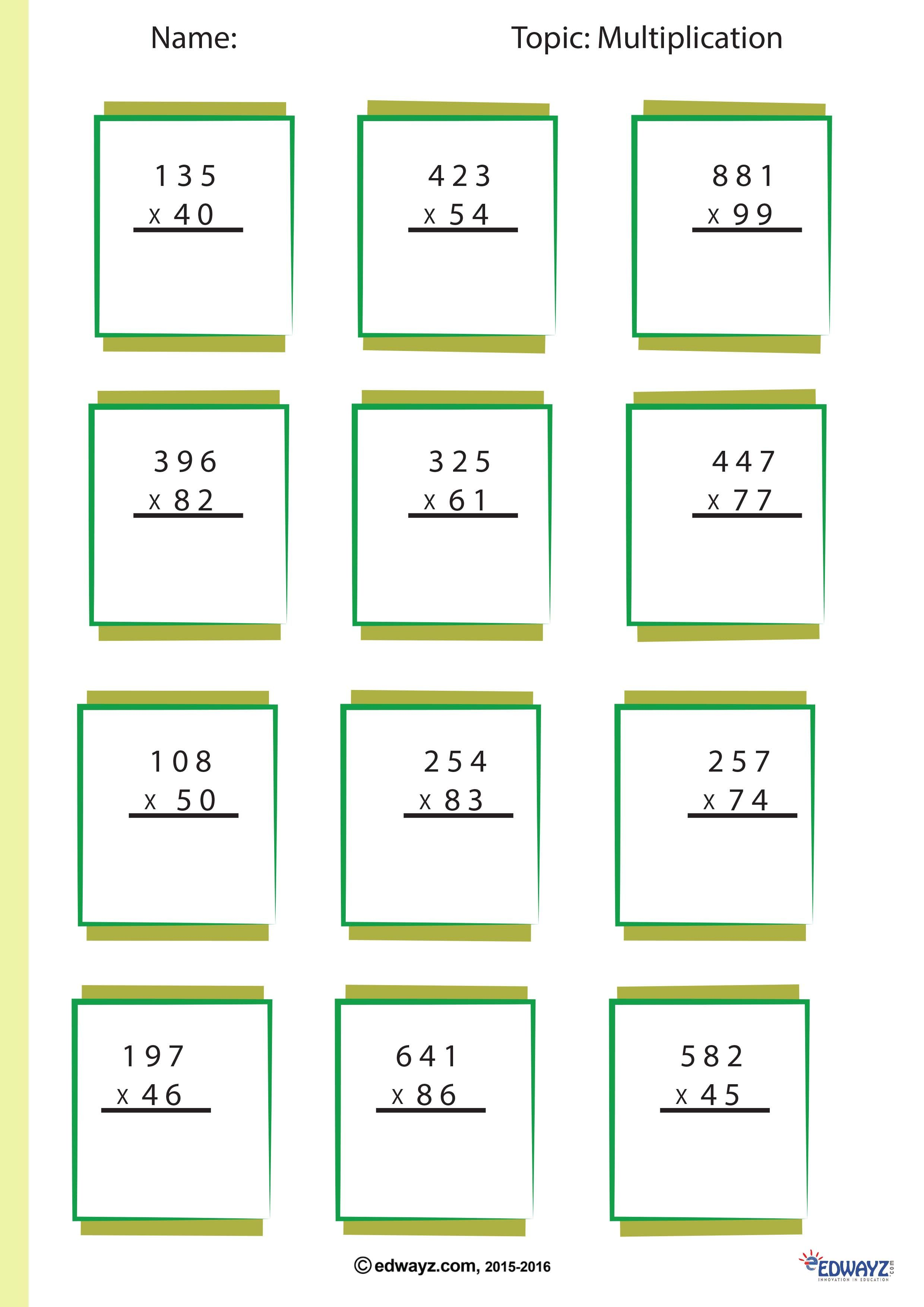 Worksheets Math Multiplication Funlearning Edwayz