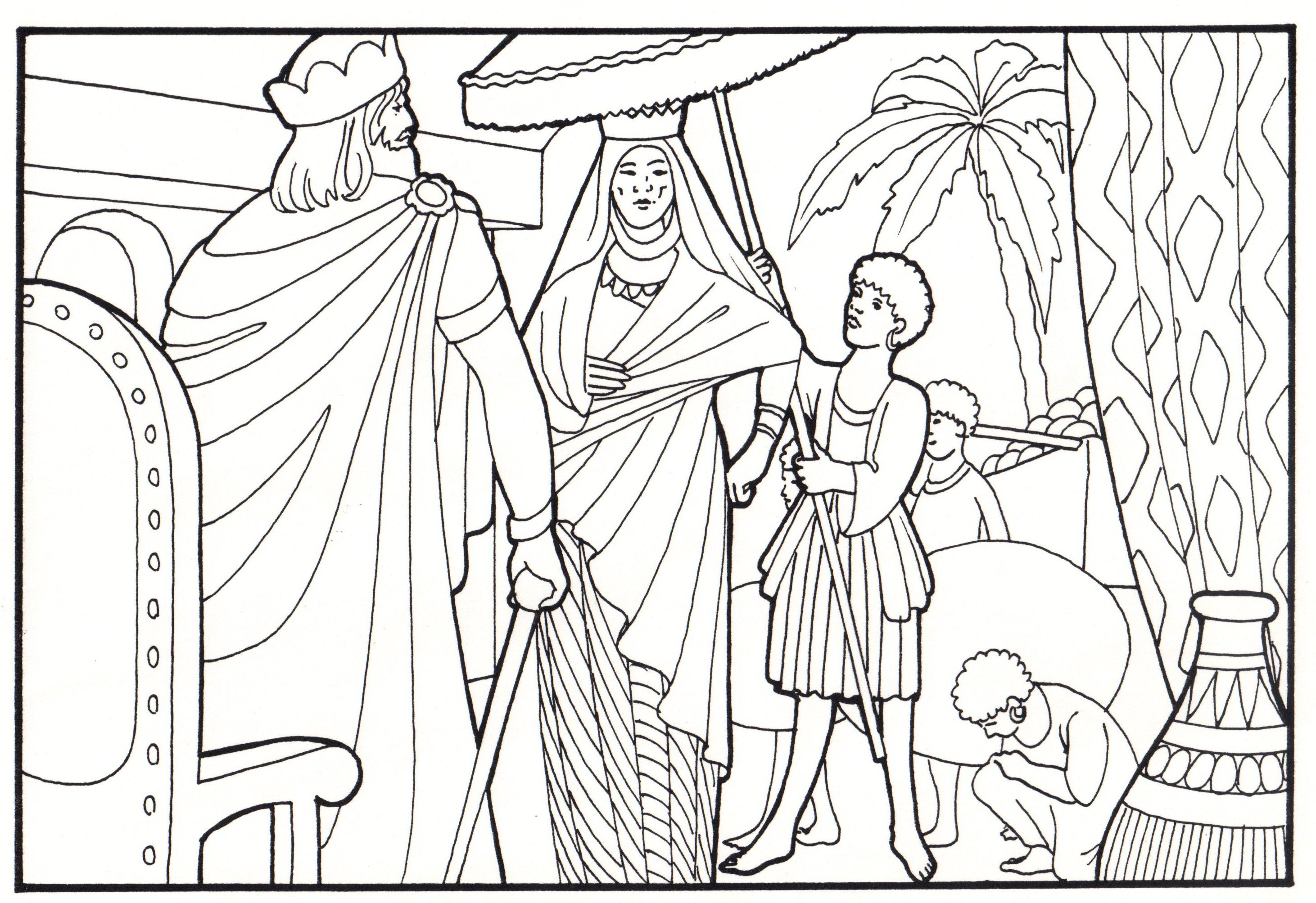 Solomon The Queen Of Sheba Bible Coloring Pages Sunday School