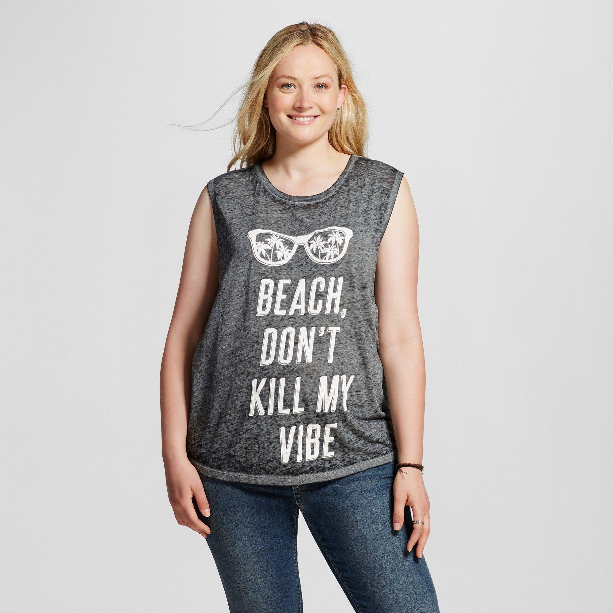 8ab49a154f2 Women s Plus Size Beach Don t Kill My Vibe Graphic Muscle Tank Black 1X -  Freeze