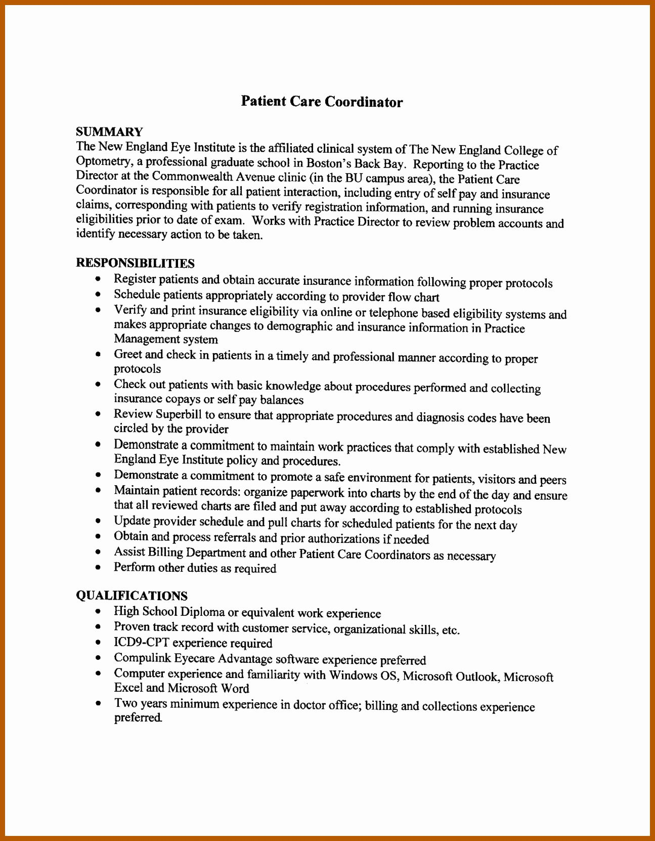 Patient Care Coordinator Job Description Resume Luxury 4 5 Patient Service Coordinator Resume Patient Care Coordinator Coordinator Job Patient Care