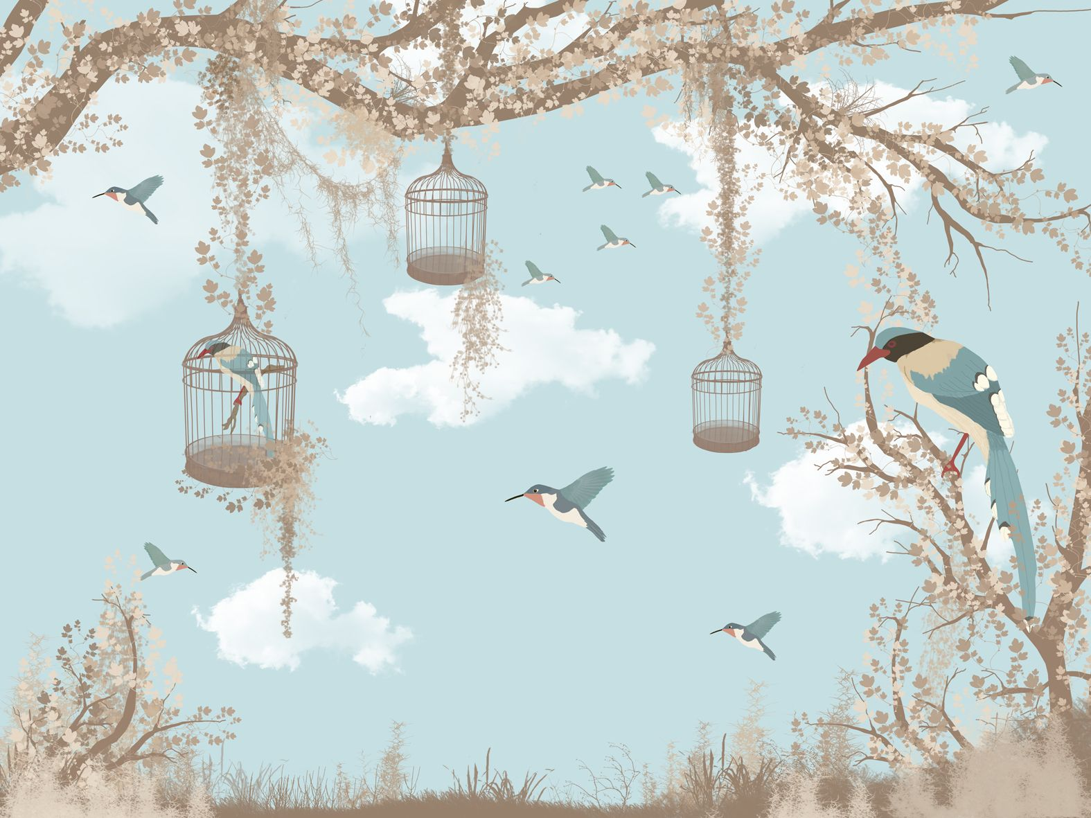 Vintage Little Floral And Birds Wallpaper Mural Bird Wallpaper Mural Wallpaper Vintage Bird Wallpaper