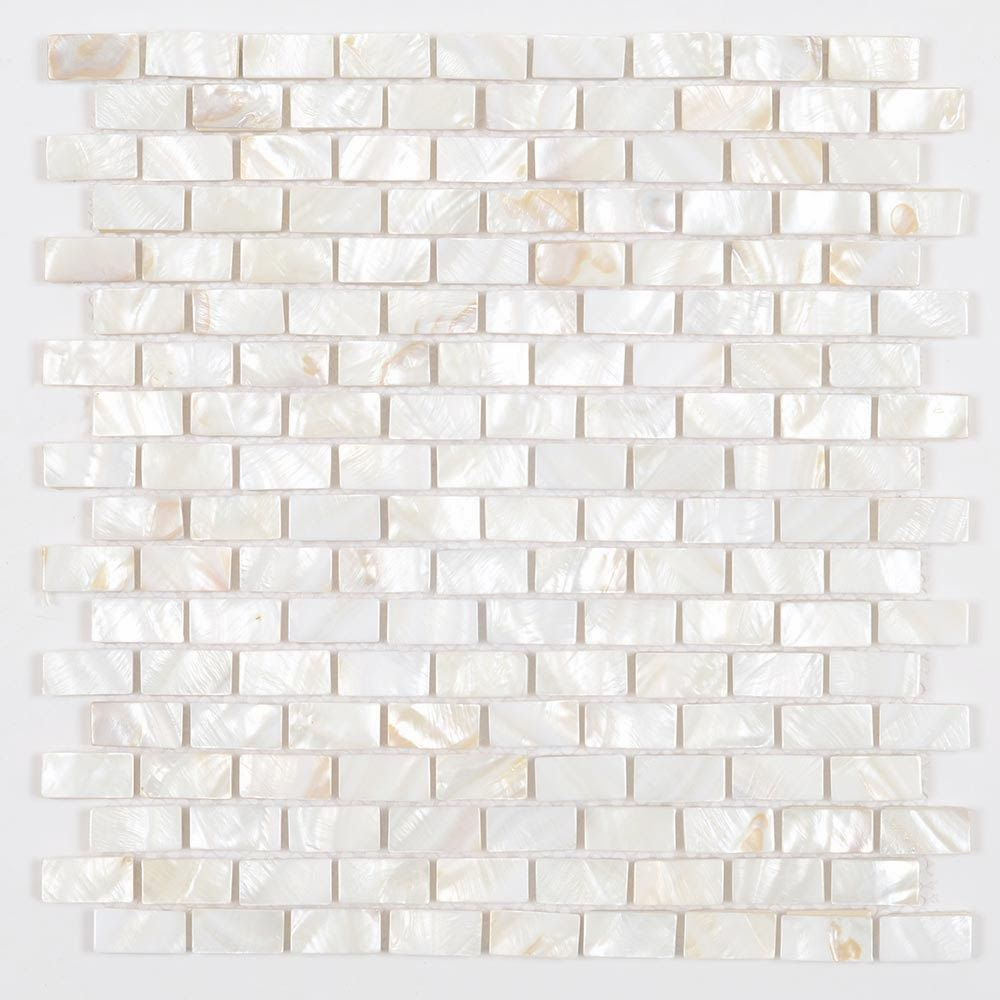 White And Beige Mother Of Pearl Natural 5 8 X 1 1 4 Inch Mini Brick Mosaic Tile With Porcelain Backin White Brick Tiles Brick Tiles White Carrara Marble Tile