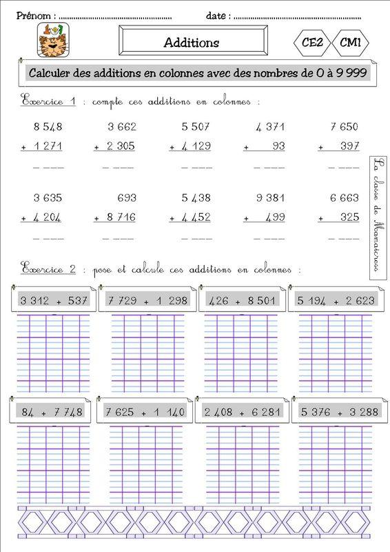 Num ration et addition ce2 cm1 la classe de mamaicress enfants ce2 cm1 ce1 math matiques ce2 - Addition et soustraction ce1 ...
