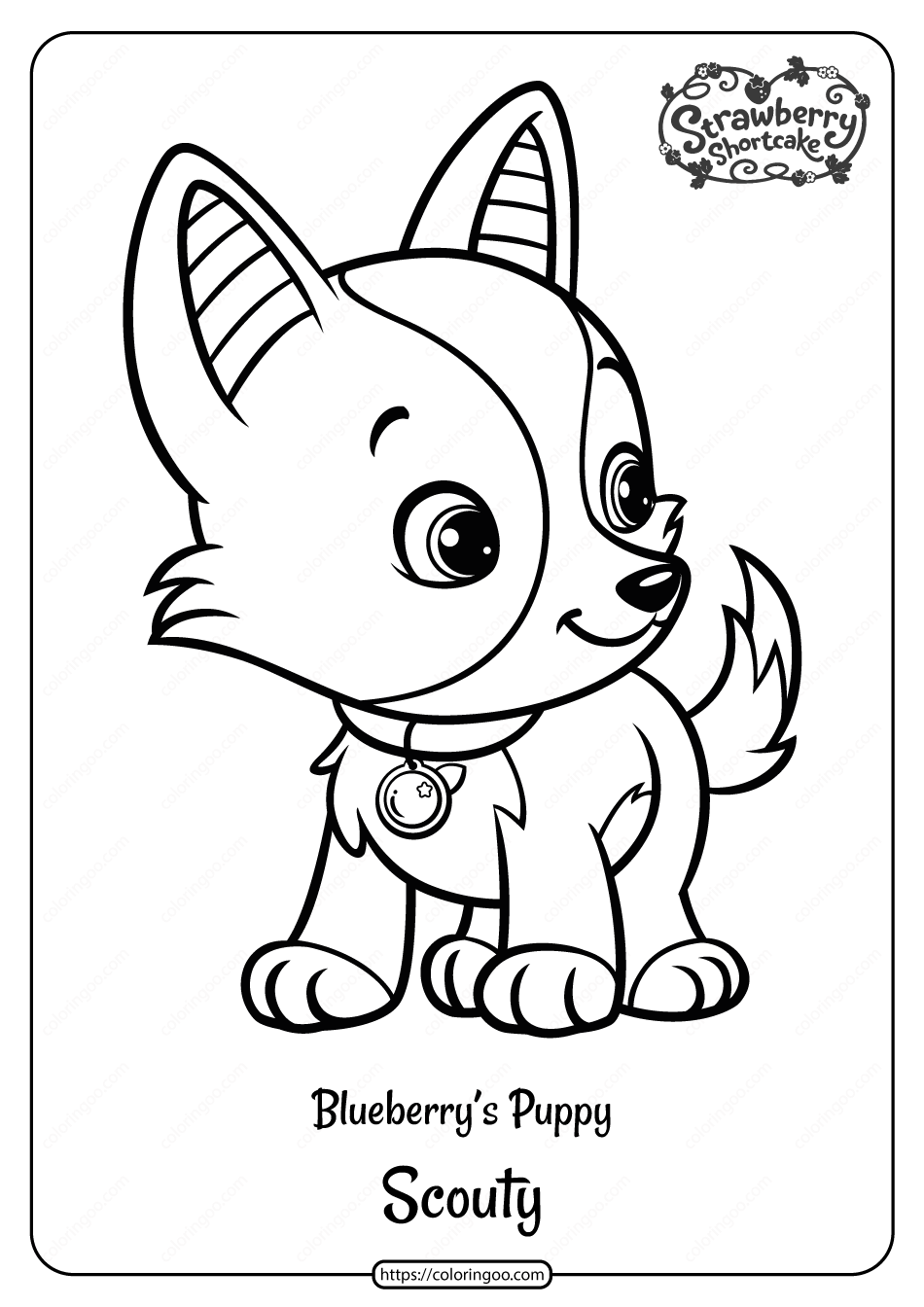 Printable Blueberry S Puppy Scouty Pdf Coloring Page In 2020 Strawberry Shortcake Coloring Pages Strawberry Shortcake Pictures Dog Coloring Page