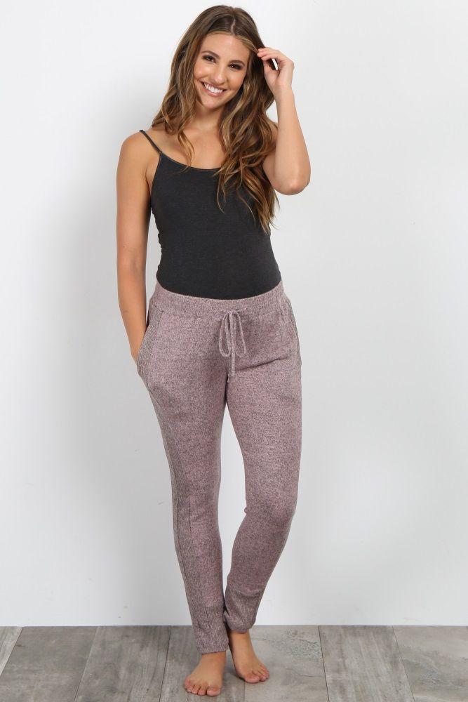 nuevo producto 86c07 a3d6b Pink Heathered Knit Maternity Jogger Pant | ropa para ...