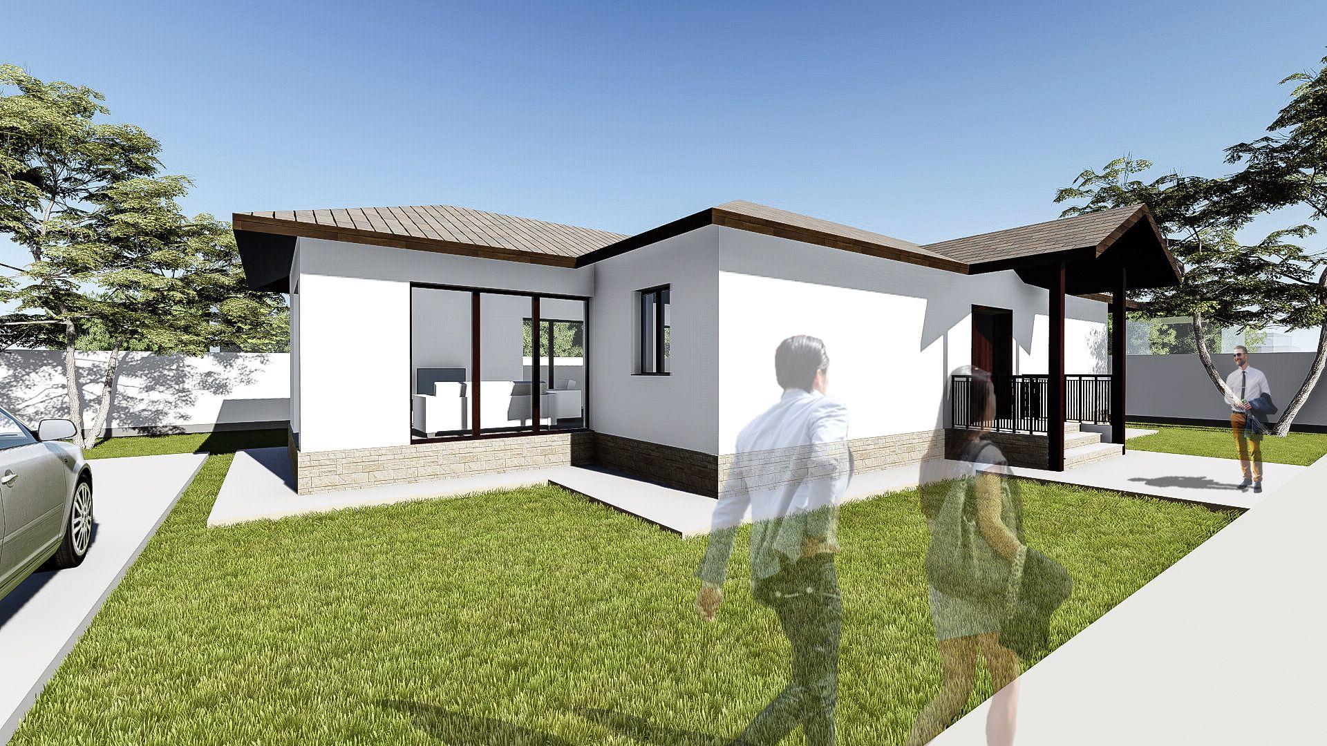 Proiect casa lumis parter 3 camere 104mp mai multe for Case parter 3 camere