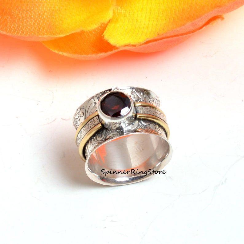 Band Ring Garnet Ring Statement Ring 925 Silver Ring Antique Ring Handmade Ring Designer Ring Thumb Ring Women Ring Gift For Her