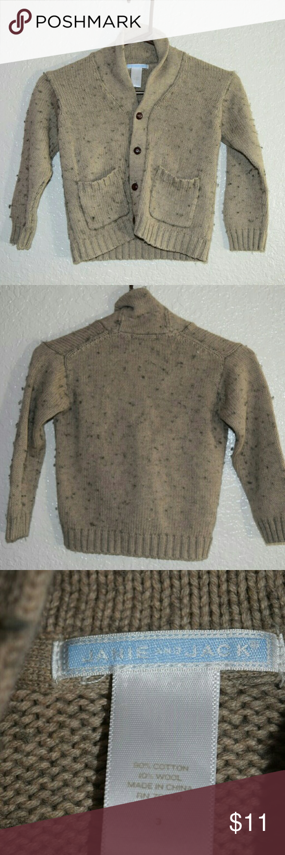 Janie and Jack Button Sweater Size 3 90% Cotton Janie and