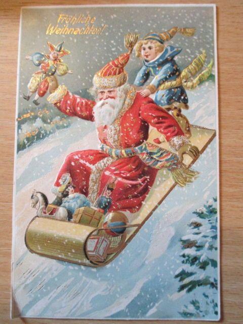 schöne alte geprägte Glückwunschkarte- Weihnachtsmann Nikolaus um ...