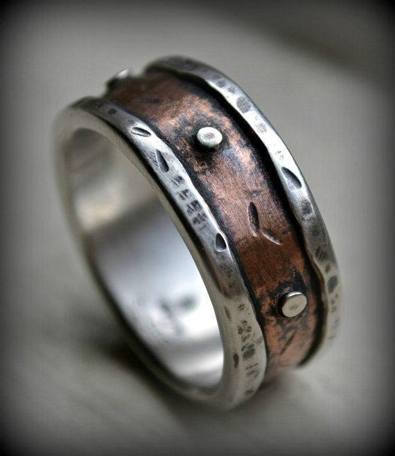 Mens rustic wedding ring rustic fine silver and copper ring with silver rive