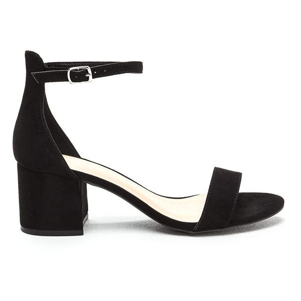 Low And Behold Strappy Block Heels ($17) ❤ liked on Polyvore featuring shoes, sandals, black, strap sandals, flat strap sandals, black mid heel sandals, open toe sandals and flat sandals