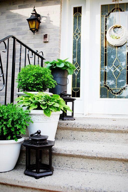 Summer Porch Transformation Black Lanterns And White Planters
