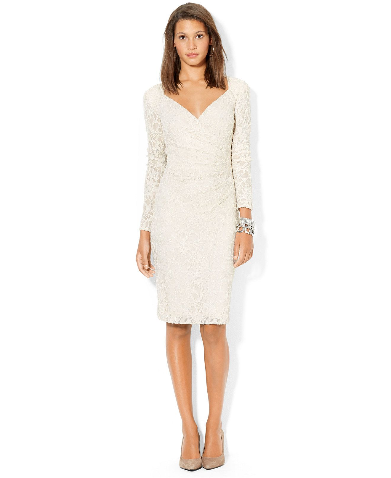 7561436ad4a Lauren Ralph Lauren Sequined-Lace Surplice Dress - Dresses - Women - Macy s