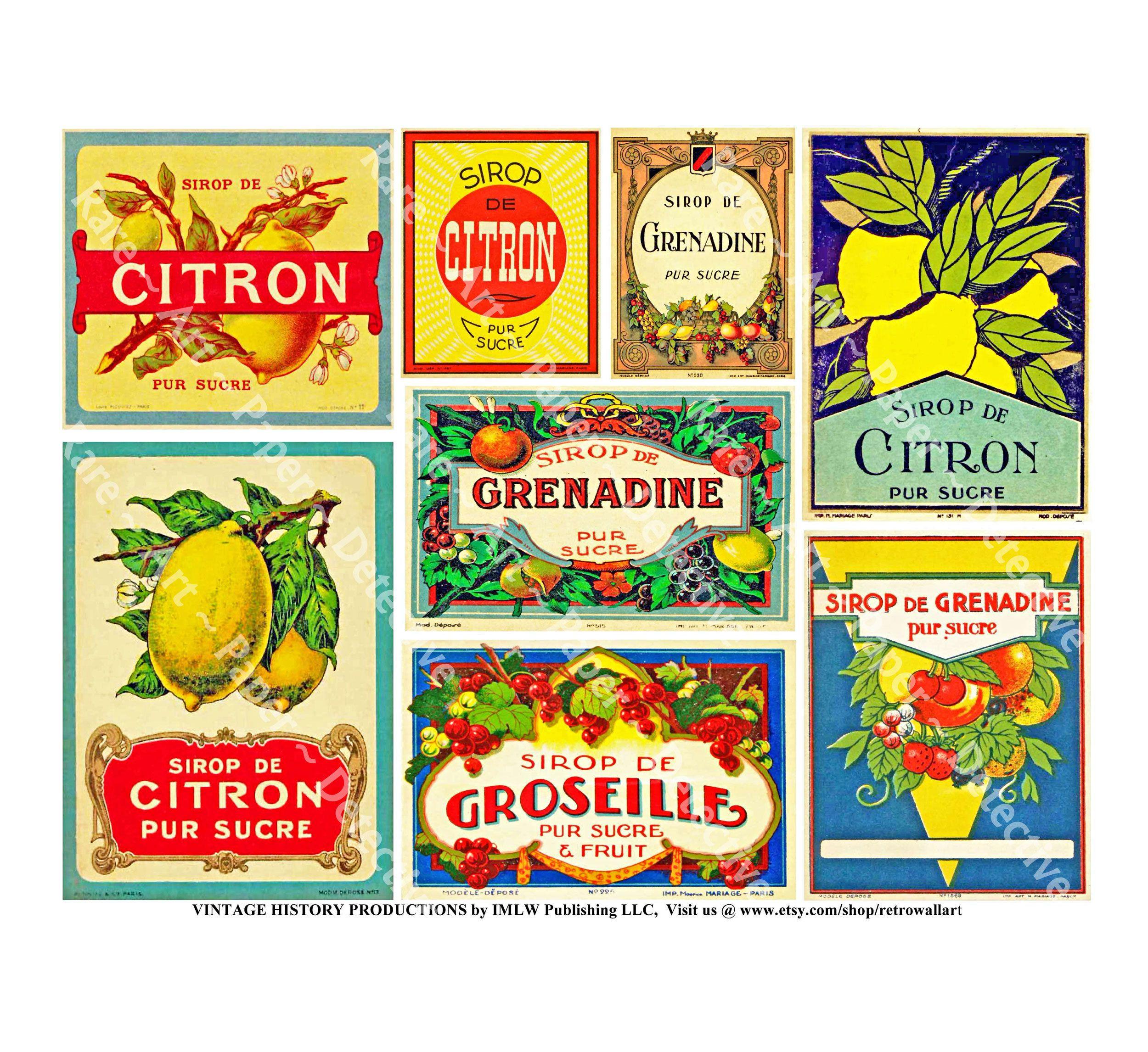Kitchen stickers decoration sirop de citron labels 8 vintage french labels lemon syrup antique kitchen labels citrus crate label