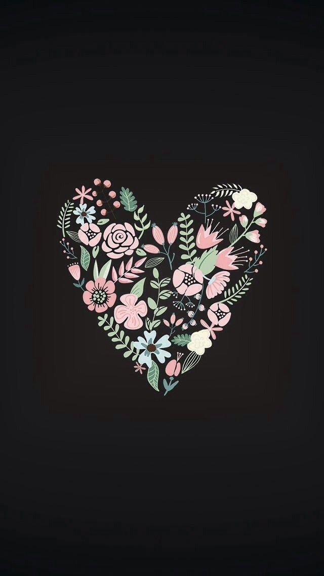 花柄のハート かわいい 壁紙 iphone, Iphone 壁紙, ハートの壁紙