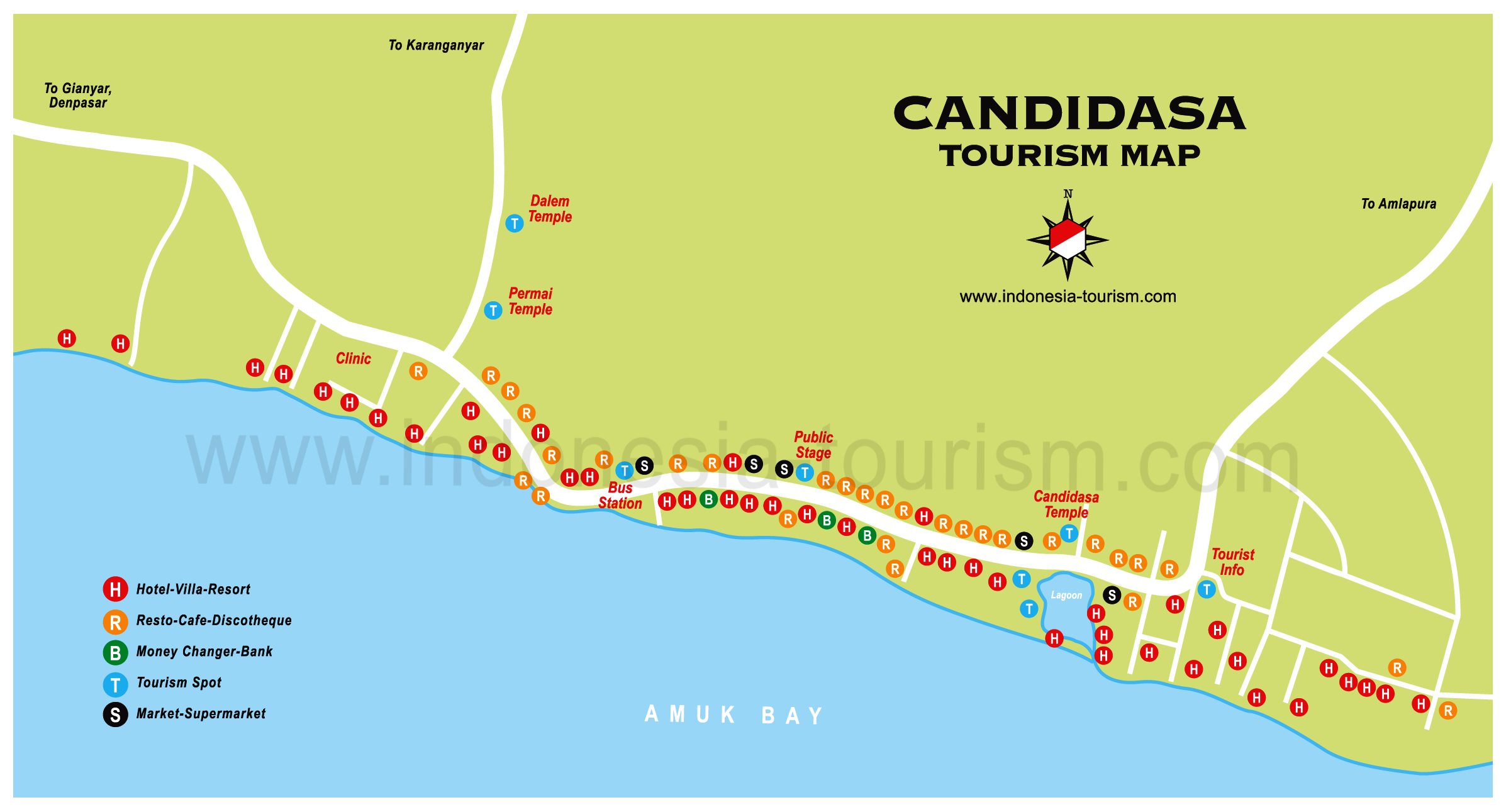 Candidasa Map Of Bali Bali Island Map Map
