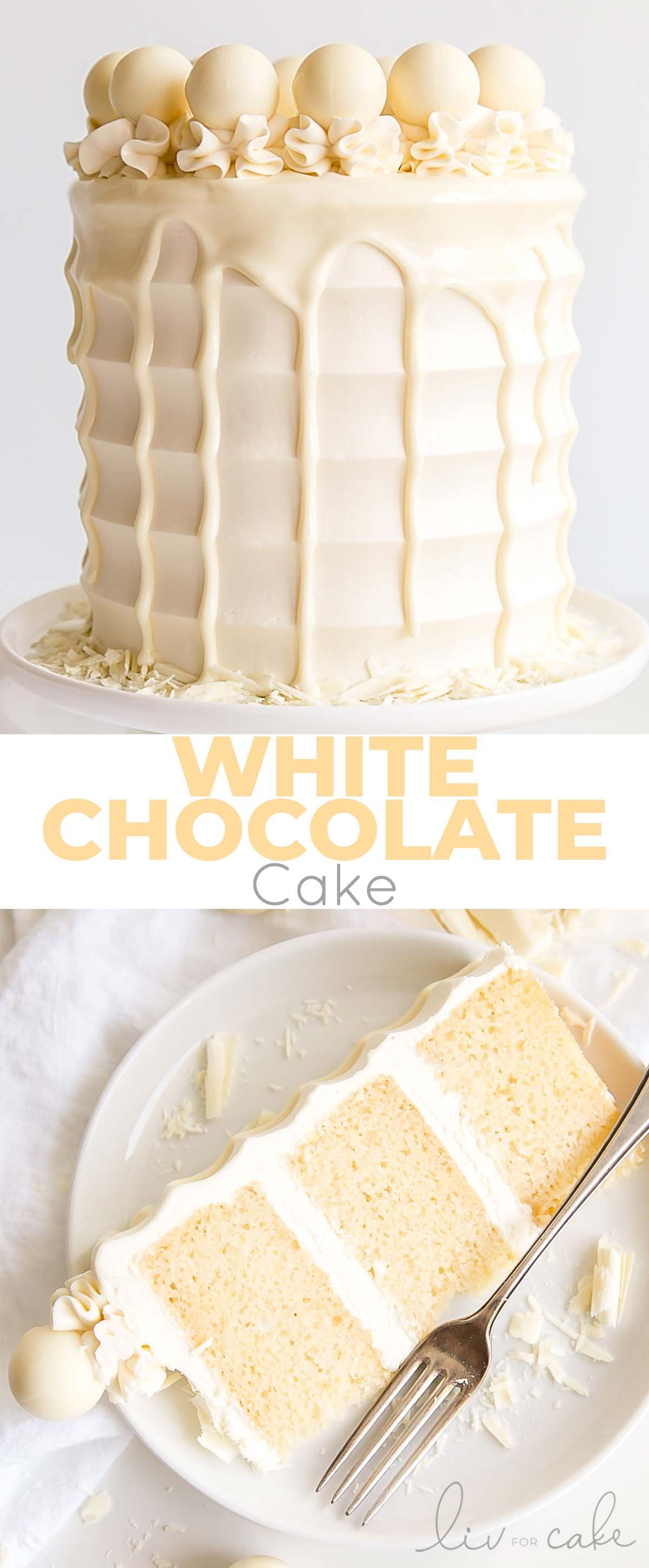 This White Chocolate Cake is both decadent and delicious. White chocolate is incorporated into the cake layers, the frosting, and the drip for a stunning monochrome effect. #allwhiteparty
