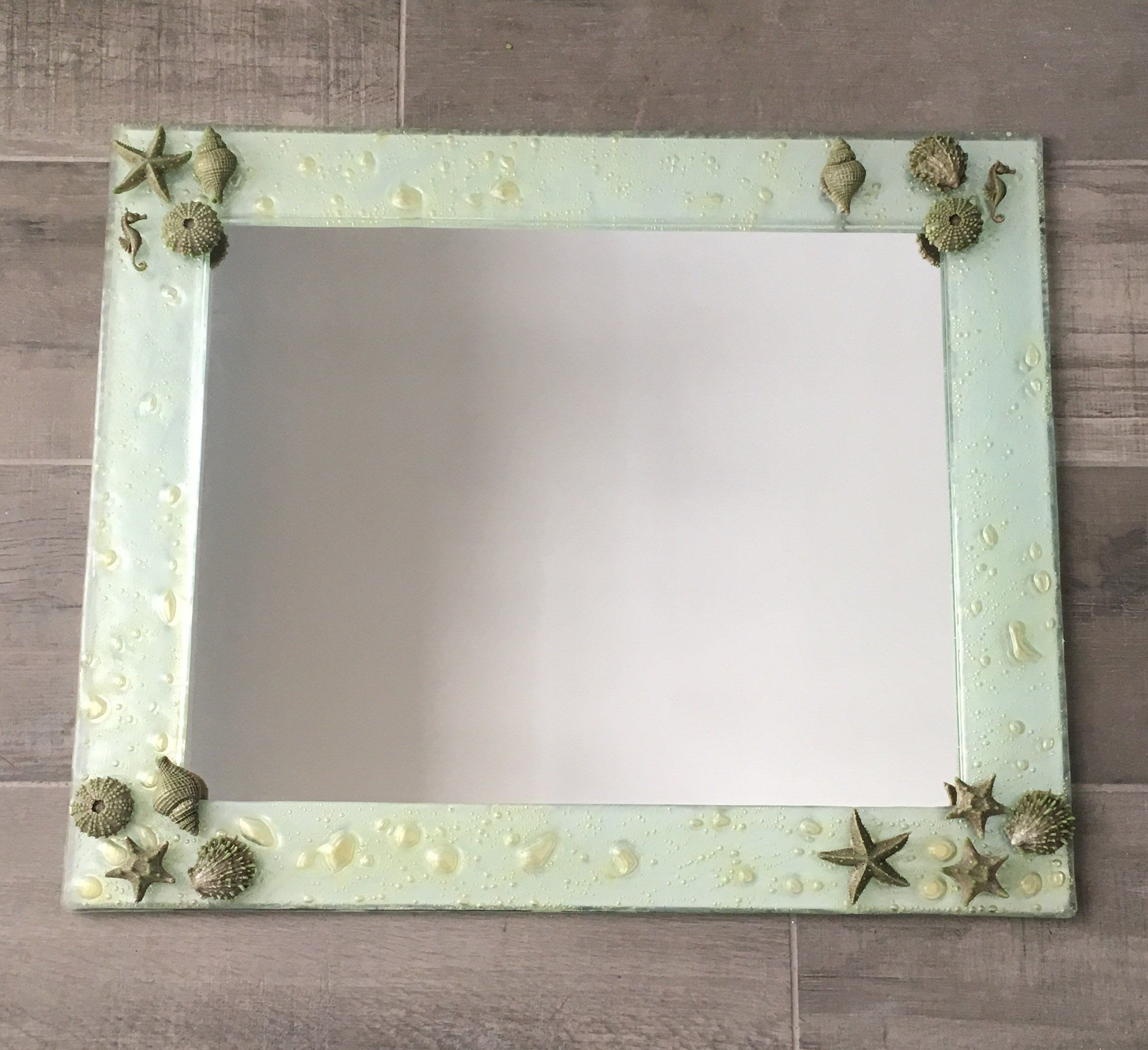 Pale Green Glass Framed Bubble Mirror By Quigleybydesign On Etsy