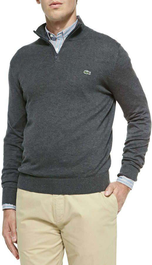 d0baeb8d8f6 Lacoste Half-Zip Knit Sweater, Gray | Sweaters | Men sweater ...
