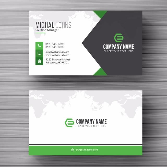 Business Card With Green Details Business Cards Vector Templates Simple Business Cards Vector Business Card