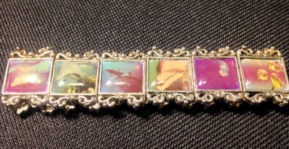 Vintage Ocean Dolphin Charm Stretch Tile Metal Bracelet  #StretchBangle